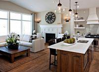 Дизайн кухни гостиной в частном доме2