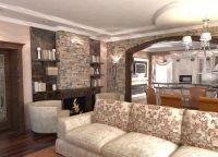 Дизайн кухни гостиной в частном доме5