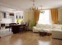 Дизайн кухни гостиной в частном доме6