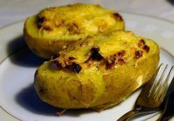 фаршированный ветчиной картофель