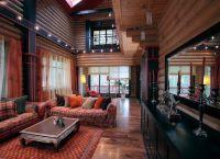 Интерьер гостиной в деревянном доме4
