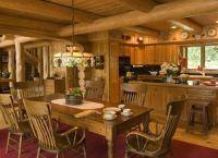 Интерьер гостиной в деревянном доме5
