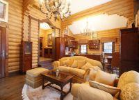 Интерьер гостиной в деревянном доме7