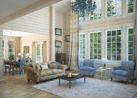 Интерьер гостиной в деревянном доме9