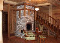 Камин в деревянном доме2