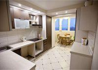 Кухня с балконом объединение дизайн6