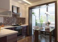 Кухня с балконом объединение дизайн1