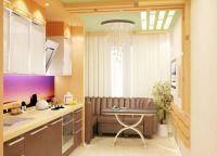Кухня с балконом объединение дизайн7