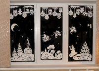 Новогодние украшения на окна12