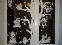 Новогодние украшения на окна13