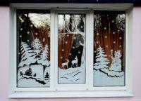 Новогодние украшения на окна14