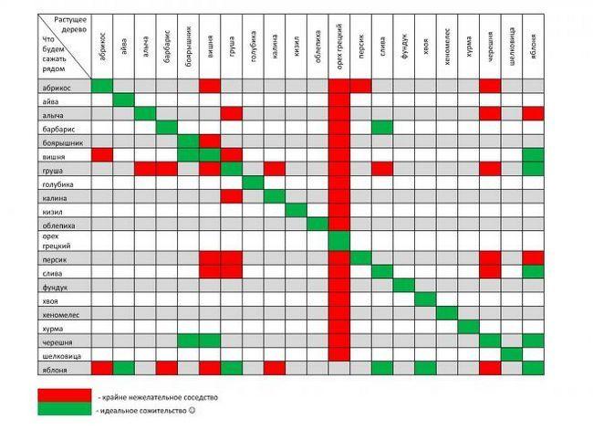 Съвместимост Таблица дървета и храсти