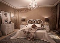 Сочетание бело-кофейных цветов в интерьере спальни -1