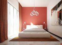 Сочетание красно-белого цвета в интерьере спальни -2