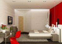 Сочетание красно-белого цвета в интерьере спальни -3