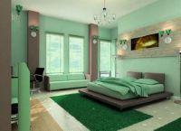 Сочетание зеленых цветов в интерьере спальни -1