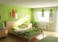 Сочетание зеленых цветов в интерьере спальни -2