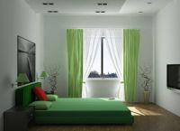 Сочетание зеленых цветов в интерьере спальни -3