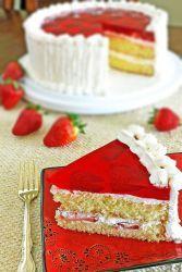 Желейный торт с бисквитом и фруктами