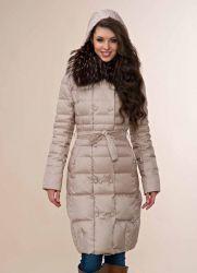 Женское длинное пуховое пальто с капюшоном