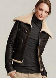 Зимние кожаные куртки-пилот с мехом