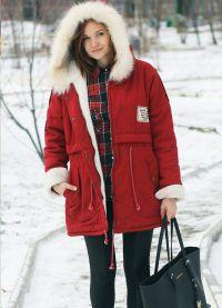 Зимняя красная парка
