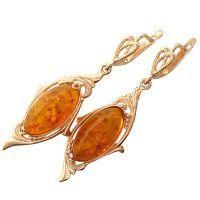 Золотые серьги с янтарем 1