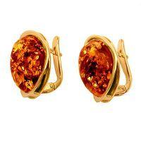 Золотые серьги с янтарем 5