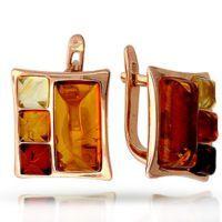 Золотые серьги с янтарем 7