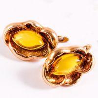 Золотые серьги с янтарем 8
