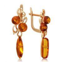 Золотые серьги с янтарем 9