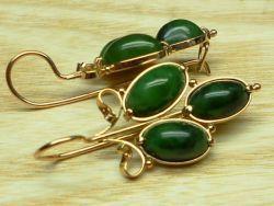 Cercei de aur cu jad