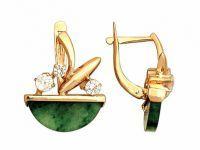 Золотые серьги с нефритом 6