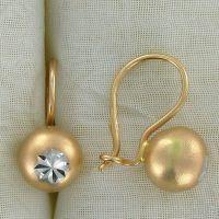 Золотые серьги шары 2